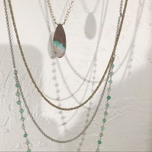 Anthropologie Brass Green Tiered Pendant Necklace